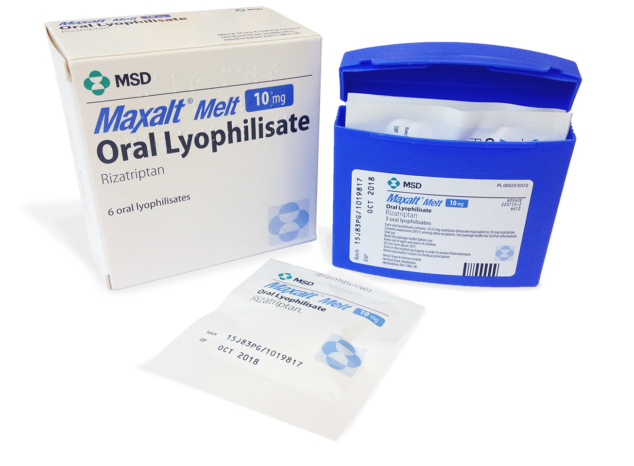 MAXALT Melt 10 mg Oral Lyophilisate packaging includes an outer box, plastic container and individual packet